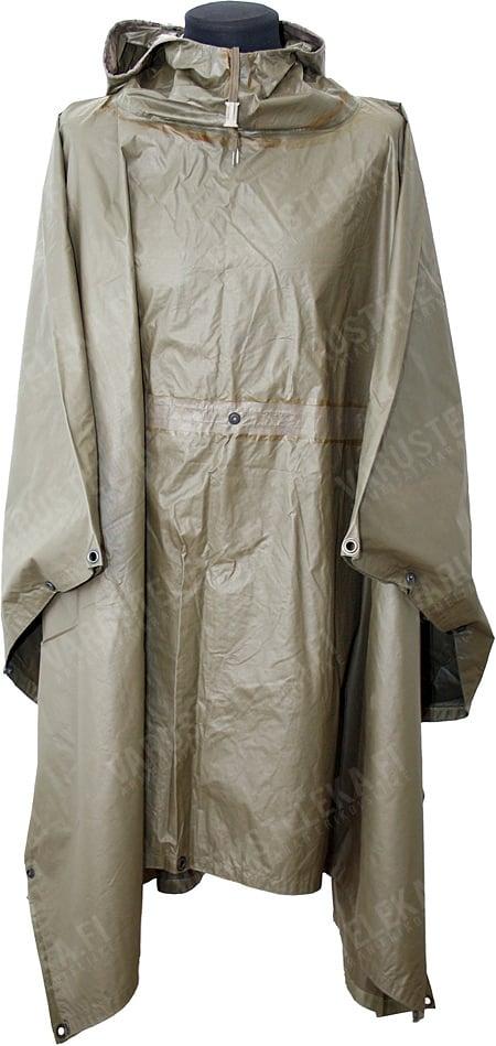 BW rain poncho, rubberized, olive drab, surplus