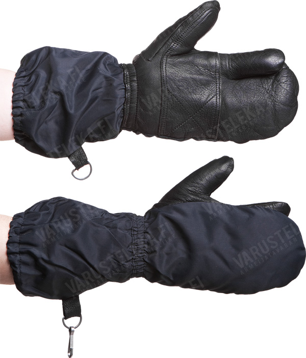 Swiss winter mittens with trigger finger, black, surplus