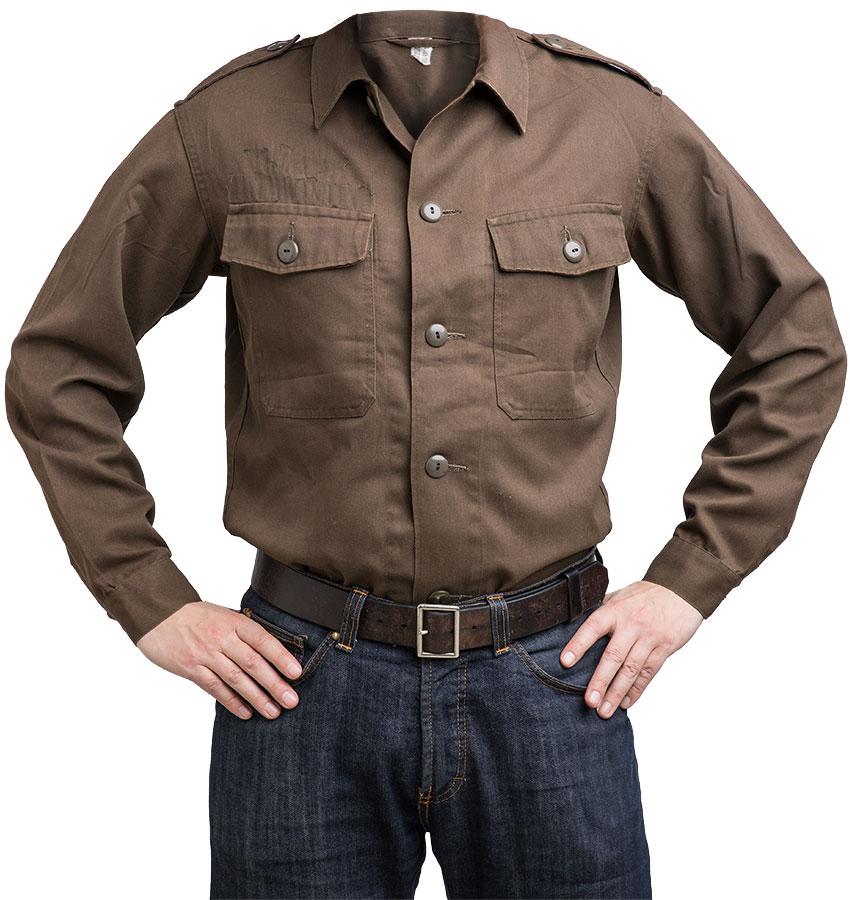 Austrian M75 service shirt, olive drab, surplus