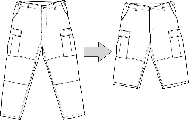 Sewing service, trousers to shorts