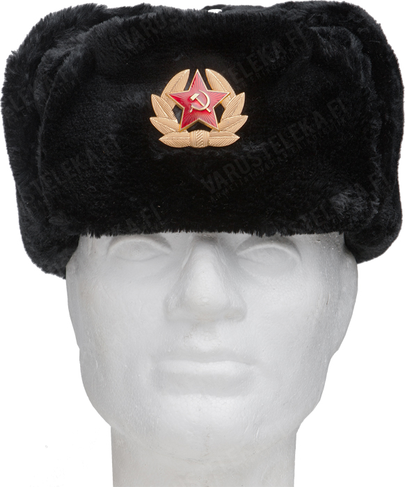 Russian fur hat with Soviet cockade, black