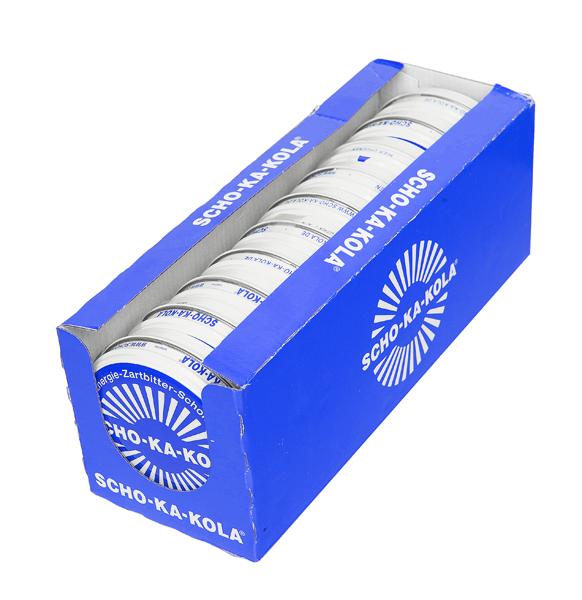 Scho-ka-Kola, 100 g tin can, wholemilk, 10 pcs box, BLUE