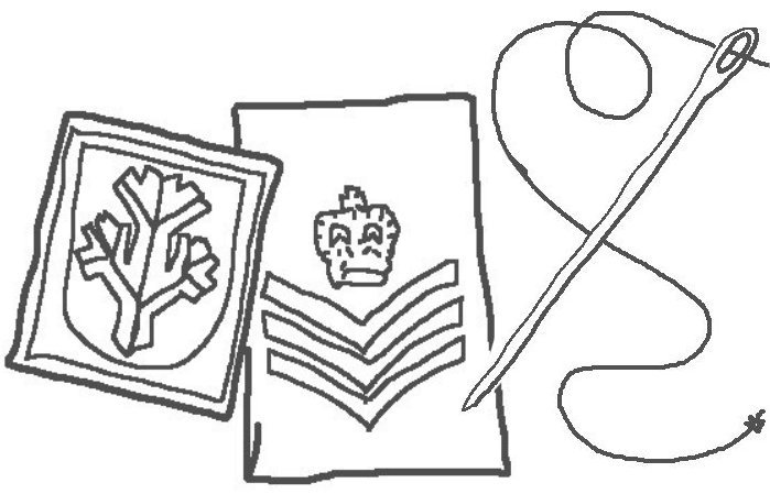 Sewing service, sew-on insignia for clothing or equipment