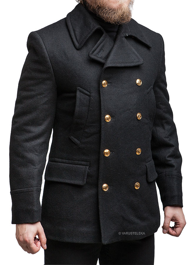 Russian navy wool coat, black, unissued