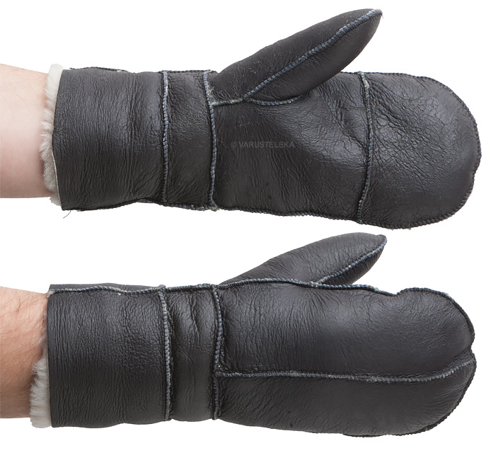 USAF leather mittens B3, brown, repro