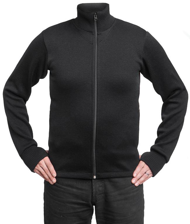Särmä merino wool sweater w/ zip, black