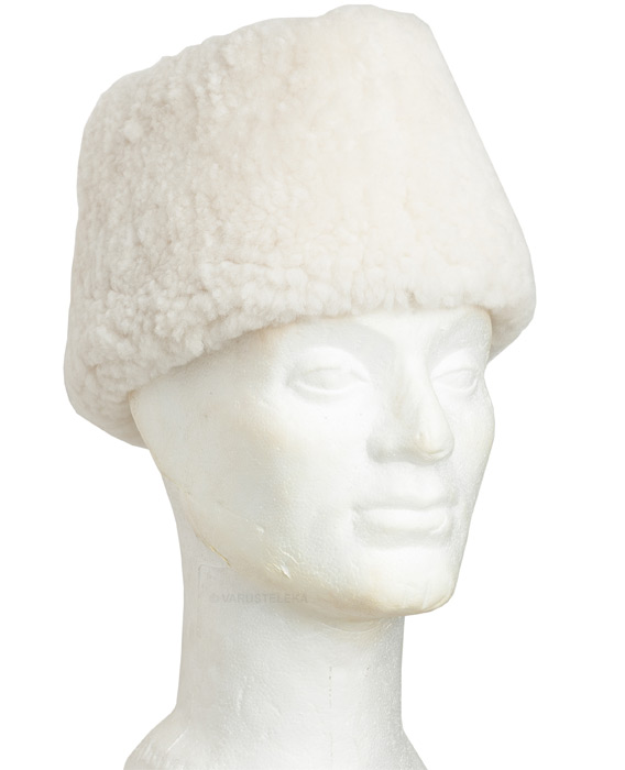 """Finnish fur hat """"Mannerheim"""", white, new"""