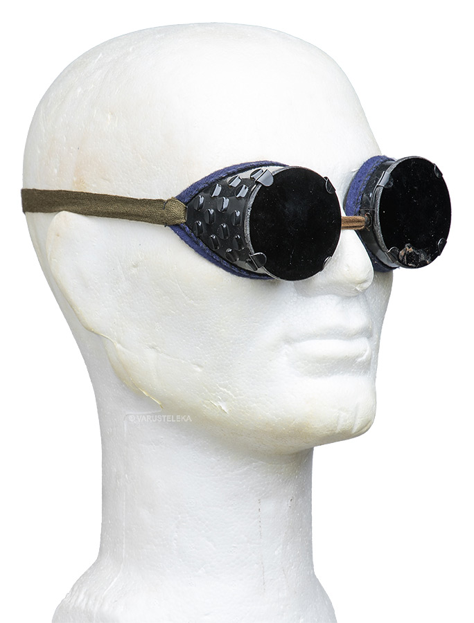 Soviet protective goggles, with dark lenses and cotton band, surplus