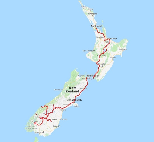 A map of New Zealand showing the road traveled with red. Almost the entire country.