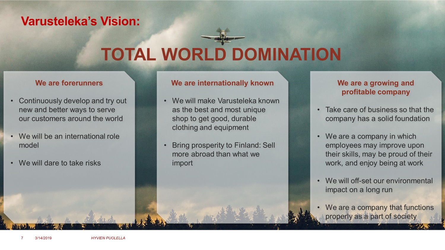 Varusteleka's vision: Total World Domination. We are forerunners, we are internationally known, we are a growing and profitable company.