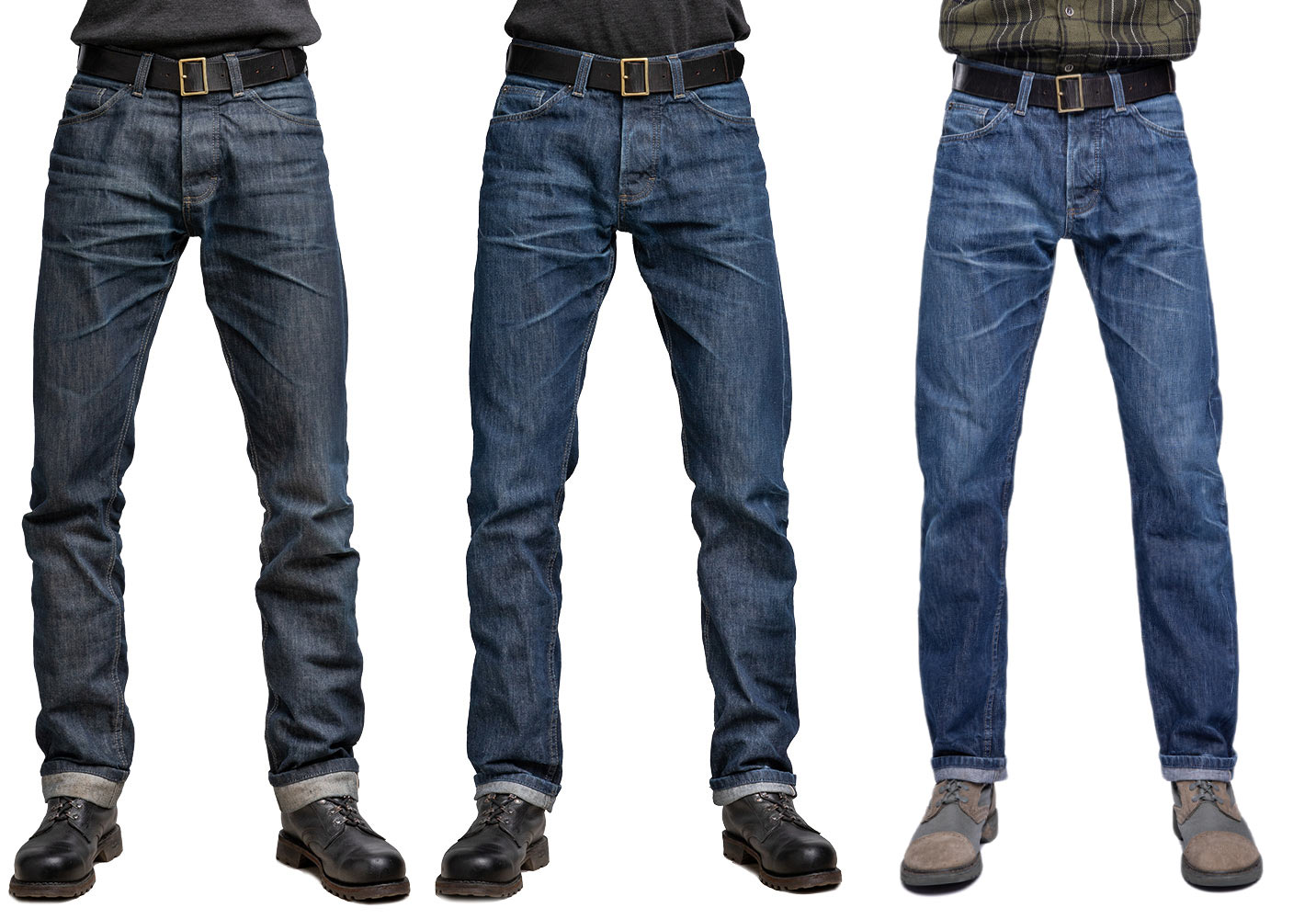 Three jeans in a row on a model. On the left the darkest colored and on the right the lightest ones.