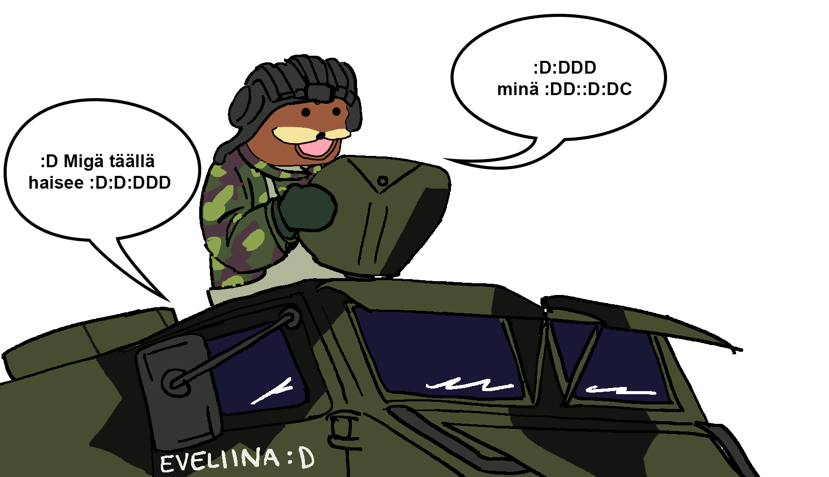 A meme in which Gorporal Spurdo is looking out of a tank with the conversation: Migä täällä haisee - minä