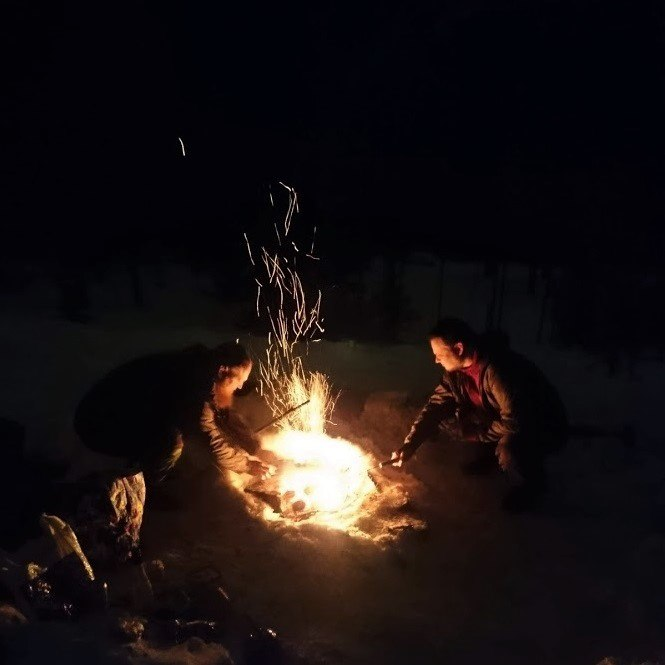 Nightly campfire with friends.