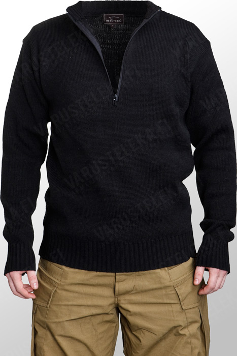 Mil-Tec Swiss pullover, with zipper, acryl, black