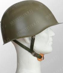 Czech M52 steel helmet, surplus. A model variation with a fancy three-point nylos strap complex.