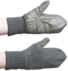 Swiss wool mittens with leather palm, surplus