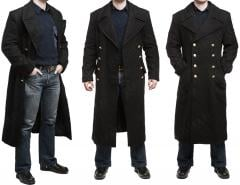 Mil-Tec Navy Greatcoat. This person is 175 cm tall with a 96 cm chest, the greatcoat is size 46