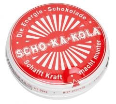 Scho-Ka-Kola, 100 g tin can, dark, 10 pcs box, RED.