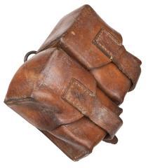 JNA ammunition pouch, double, leather, surplus