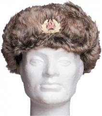 Russian fur hat with Soviet cockade, fake fur