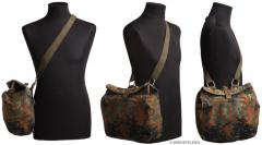 BW Gas Mask Bag, with Carrying Strap, Flecktarn, Surplus. The shoulder strap is detachable.