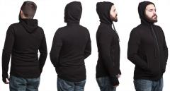 Särmä Merino Wool Hoodie. The hood fits form enough not to drape over the face.