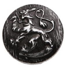 Finnish lion button, nickeled/black