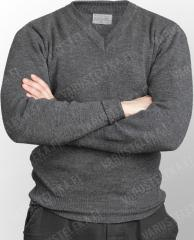 BW pullover, V-neck, grey, surplus