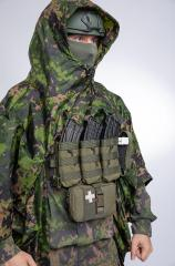 Särmä TST Rain poncho, M05 woodland camo. The old trick - do this to access your gear.