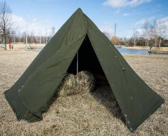Old fashioned two-man canvas tent in the form of a tipi style contraption split to two parts. Surprisingly not-bad for a Polish army Cold War era product ... & Polish two-man tent surplus - Varusteleka.com