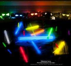 Mini light sticks, 10 pcs, assorted colours.