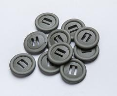 2M Slotted button, 10 pcs. 30 mm, green