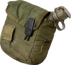 US 2 qt Canteen, olive drab, with pouch, surplus.