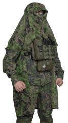 Foxa PES Net 260 Camo Mesh Fabric, M05 Woodland, by the meter. The pictured Särmä TST Camouflage cloak is made from this material.