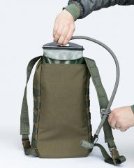 Särmä TST DP10 Roll-Top daypack. The back compartment can be used for ca. 2 litres of water in a hydration bladder.