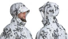 Särmä TST L7 Camouflage Anorak. The hood is sized for wear over a helmet, but can be tightened down for wear over a bare head.