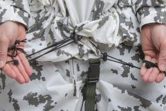 Särmä TST L7 Camouflage Anorak. Cord lock equipped drawcords finish the fit.