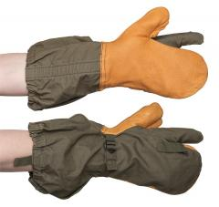 US M-1951 shell mittens with trigger finger, olive green, surplus