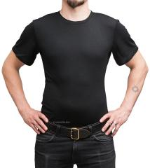 Särmä Merino Wool T-shirt. Our model's measurements are about 175 / 96 cm, wearing size Medium shirt.