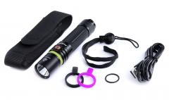 Fenix UC30 Rechargeable flashlight. Comes with a belt pouch, 2600 mAh battery, spare rubbers, lanyard and charging cable.