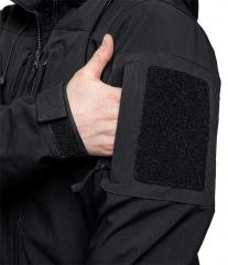 Särmä Softshell Jacket. A small zippered pocket on the sleeve and a velcro patch base on top of it.