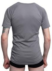"Dutch t-shirt, moisture wicking, surplus. Medium-sized shirt on a tall and slender person (188 cm / 6' 2"" length and 96 cm / 38"" chest)"