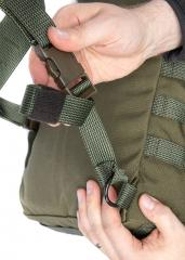 Särmä TST CP15 Combat pack. Pass the webbing through the D-ring and through its own end-loop.