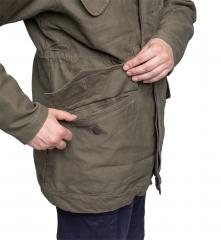 Dutch Field Jacket, Olive Green, surplus. Lower pockets with traditional flaps and hidden buttons.