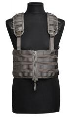 Swedish SVS 12 Combat Vest With Pouches, Green, surplus. The tops of the front panels fold and tuck into dedicated pockets for chestrig use.