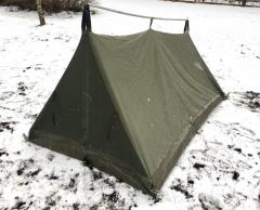 Belgian 2 Person Tent w. Jigsaw Camo Flysheet, Surplus. Works as a lighter shelter without the flysheet.