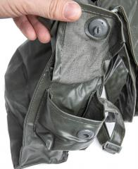 NVA gas mask bag, rubberized, surplus. Cleaning kit pouch on the side.