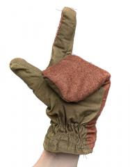Soviet cotton-flannel mittens, surplus . In the land of no-can-do mittens, the three-fingered man is the king.