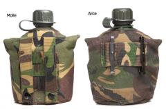 Dutch 1Q Canteen with Pouch and Cup, Surplus. The pouches are either MOLLE or ALICE type.
