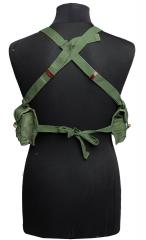 Chicom Type 56 Chestrig, SKS, Surplus. The adjustable shoulder straps cross each other at the back and the waist belt strings are tied together at the back.